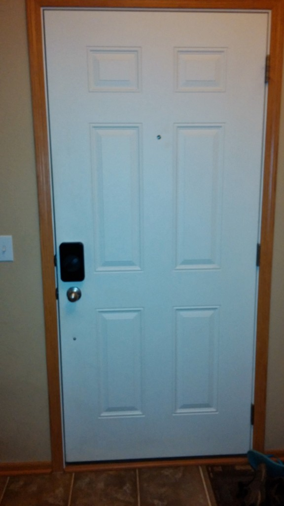 A view of our entire door with the Lockitron installed on it.